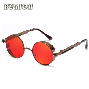 Steampunk Goggles Sunglasses Men Women Luxury Brand Round Sun Glasses For Ladies Retro Circle Rs291-C15
