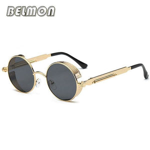 Steampunk Goggles Sunglasses Men Women Luxury Brand Round Sun Glasses For Ladies Retro Circle Rs291-C03