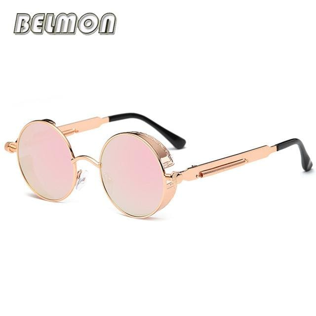 Steampunk Goggles Sunglasses Men Women Luxury Brand Round Sun Glasses For Ladies Retro Circle Rs291-C06