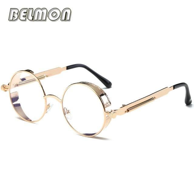 Steampunk Goggles Sunglasses Men Women Luxury Brand Round Sun Glasses For Ladies Retro Circle Rs291-C12