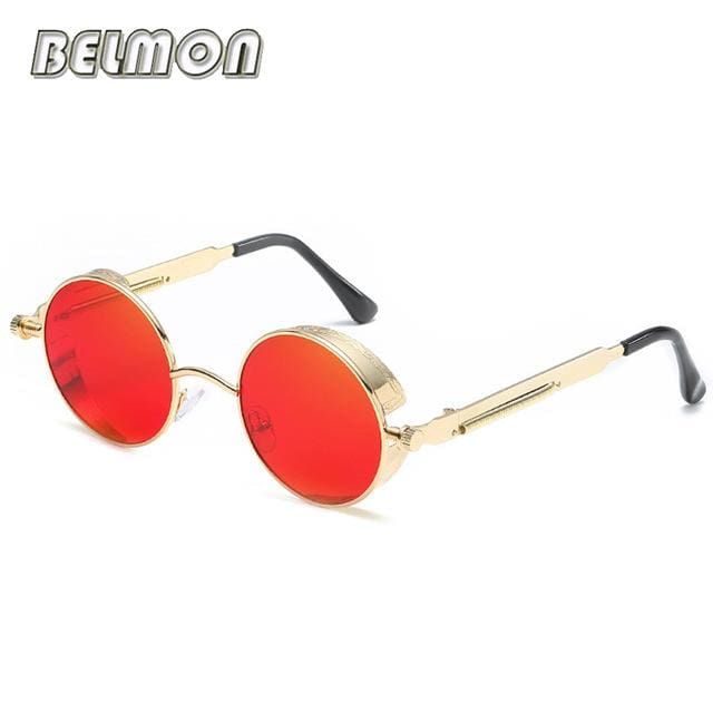 Steampunk Goggles Sunglasses Men Women Luxury Brand Round Sun Glasses For Ladies Retro Circle Rs291-C14