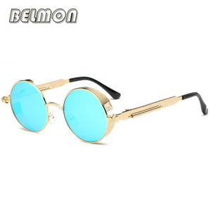 Steampunk Goggles Sunglasses Men Women Luxury Brand Round Sun Glasses For Ladies Retro Circle Rs291-C05