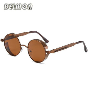 Steampunk Goggles Sunglasses Men Women Luxury Brand Round Sun Glasses For Ladies Retro Circle Rs291-C07