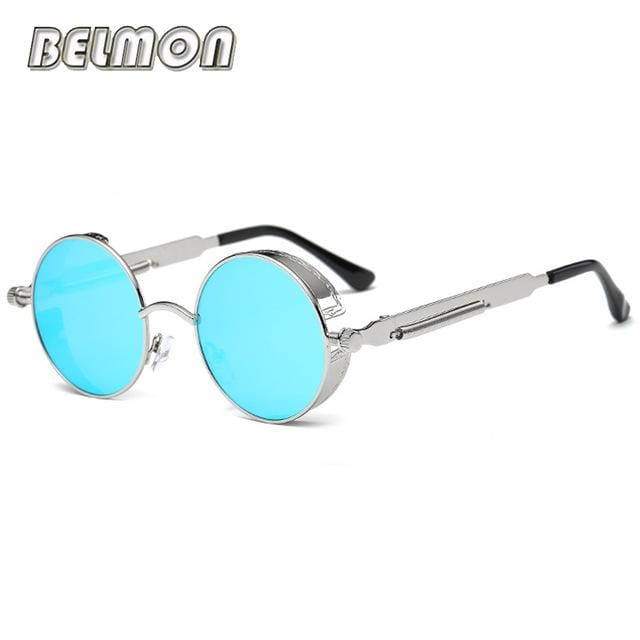 Steampunk Goggles Sunglasses Men Women Luxury Brand Round Sun Glasses For Ladies Retro Circle Rs291-C10