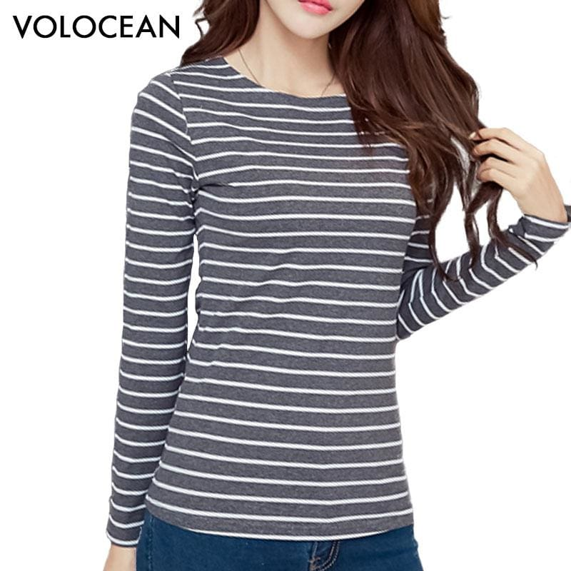 Volocean 2017 Striped Cotton Female T-Shirt Casual Autumn Winter T-Shirts For Women Classic T Shirt