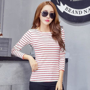 Volocean 2017 Striped Cotton Female T-Shirt Casual Autumn Winter T-Shirts For Women Classic T Shirt 12 / S