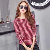 Volocean 2017 Striped Cotton Female T-Shirt Casual Autumn Winter T-Shirts For Women Classic T Shirt 09 / S