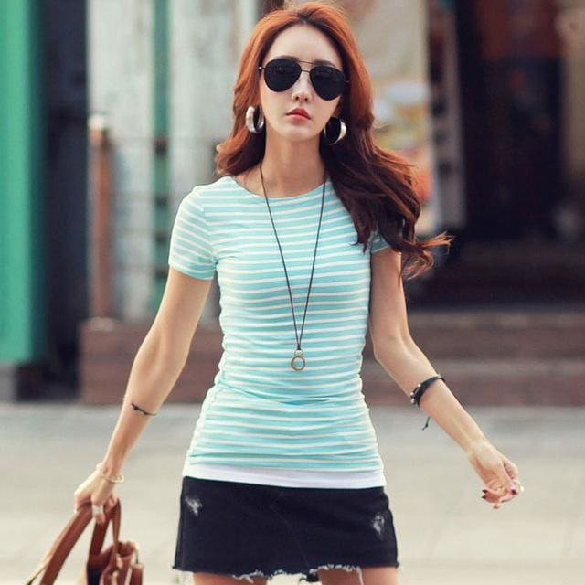 Volocean 2017 Striped Cotton Female T-Shirt Casual Autumn Winter T-Shirts For Women Classic T Shirt 04 / S