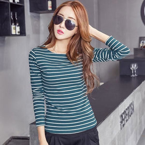 Volocean 2017 Striped Cotton Female T-Shirt Casual Autumn Winter T-Shirts For Women Classic T Shirt 10 / S