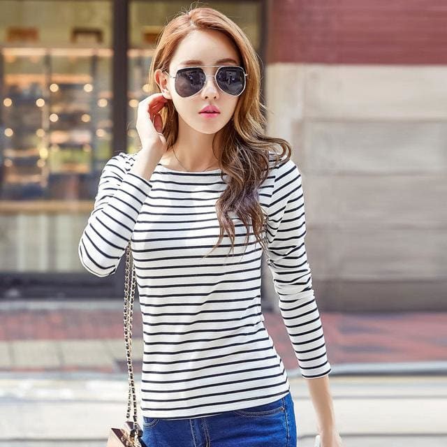 Volocean 2017 Striped Cotton Female T-Shirt Casual Autumn Winter T-Shirts For Women Classic T Shirt 07 / S