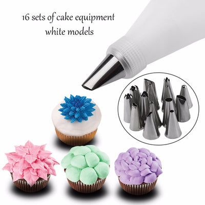 16Pcs/set of Silicone Piping tips and Pastry Bag - Kitchendayz