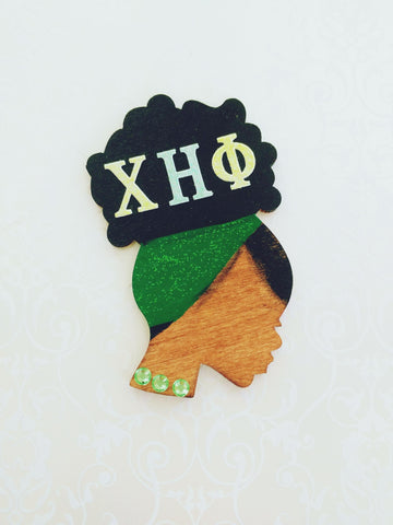 Chi Eta Phi ID Afro Badge Reel - Retractable - Reflections By Zana