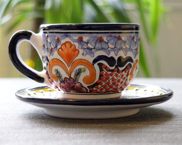 Hand painted talavera cup & saucer