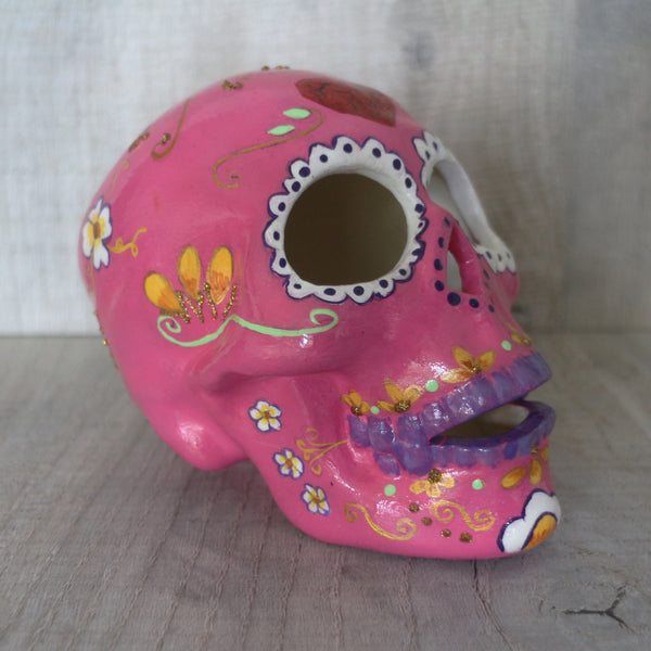 Stunning unique hand painted ceramic Mexican sugar skull