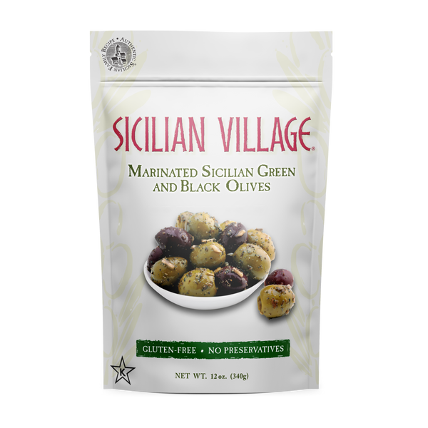 Sicilian Village Marinated Sicilian Green and Black Olives, 12 oz.