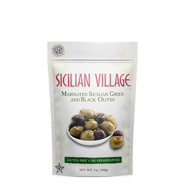 Sicilian Village Marinated Sicilian Green and Black Olives, 7 oz.