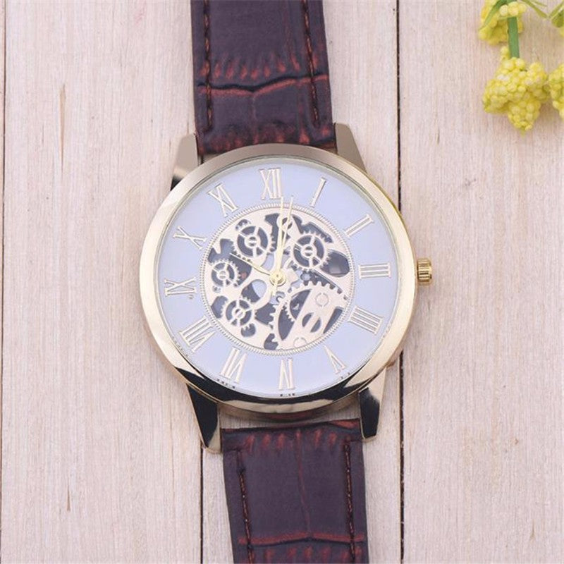 Hollow Quartz Watch With Gold Accent