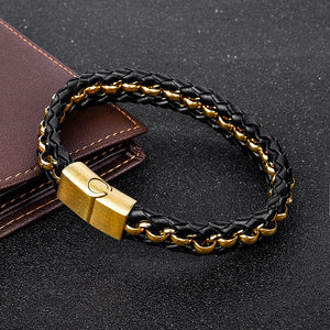 Leather Braided Chain Bracelet