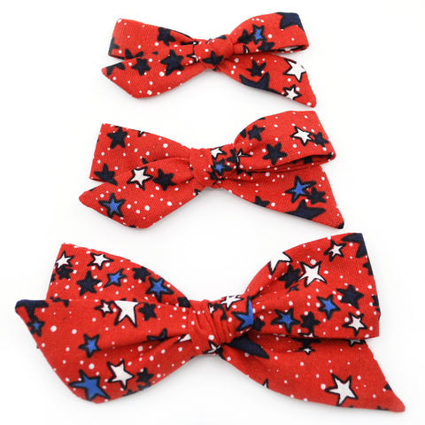 Red Stars & Dots Evy Bow, Newborn Headband or Clip