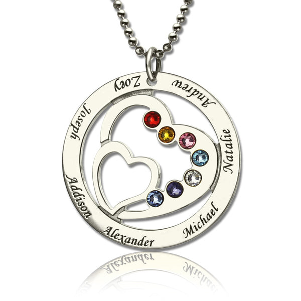 Personalized Sterling Silver Heart In Heart Birthstone Name Necklace for Mother's Day Birthday Anniversary Christmas Gift