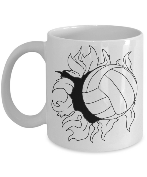 Flaming Volleyball Coffee Mug -My Heart is On That Court Mom Dad Daughter Son 11 Oz 15 OZ Mom Voice - GuysandGirlsGeneral