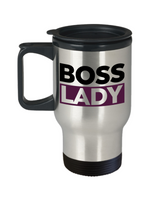 Boss Lady Travel Coffee Mug- Lady Boss - Purple and Black White Travel Mug- Women Empowered Travel Mug- Gifts for Lady Boss- - GuysandGirlsGeneral