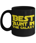 Star Wars Best AUNT in Galaxy Black Coffee Mug Gift Auntie Best Ever Starwars Fans Fanatics May The Force Be With You
