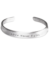 Beautiful Love Never Fails Gift Bracelet for Women of Faith! 1st Corinthians 13:8 - GuysandGirlsGeneral