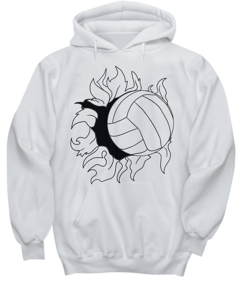 Flaming Volleyball Hoodie -Mom Voice- My Heart is On That Court Dad Daughter Son Girls Sports Gifts - GuysandGirlsGeneral