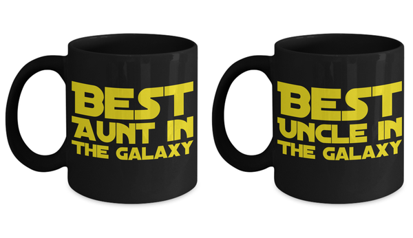 STAR WARS Couple Aunt Uncle Best in Galaxy Black Coffee Mug Gift Set Auntie Unkle Best Ever Starwars Fans Fanatics …