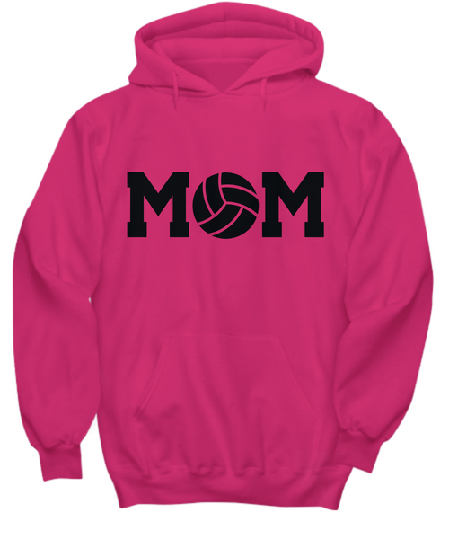 Volleyball Mom Hoodie -Mom Voice- My Heart is On That Court Daughter Son -6 Colors -I Love Daughter