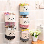 Cute Kitty Cat Wall or Door Hanging Cotton Linen Storage Bag Organizer - GuysandGirlsGeneral