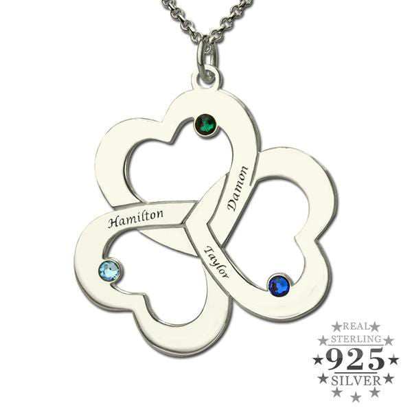 Personalized Triple Heart Birthstone Sterling Silver & Gold Necklace for Mother's Day Birthday Anniversary Gift for Mom or Grandma