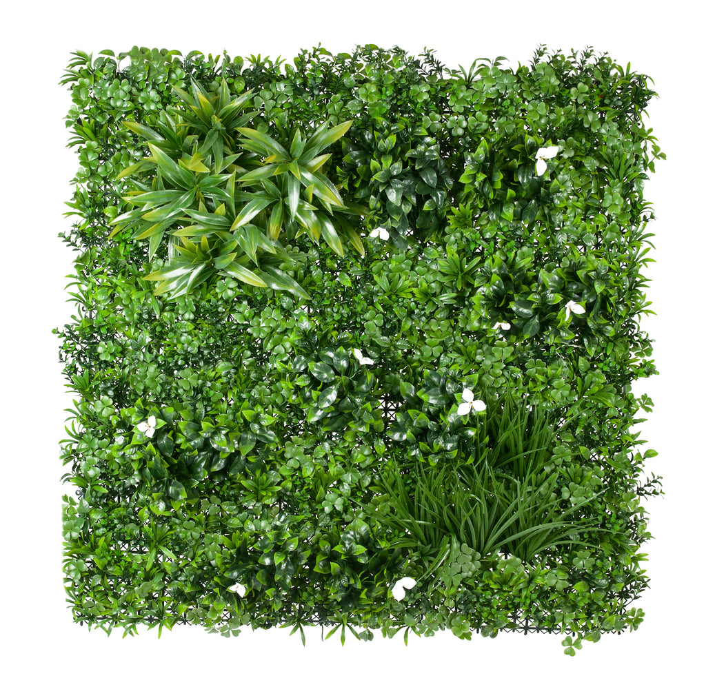 flowering white green wall panel