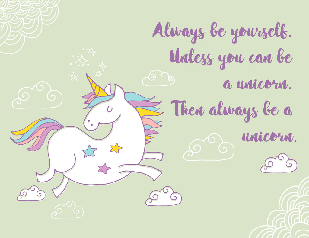 Always Be Yourself Or Be A Unicorn Card - Mint Green