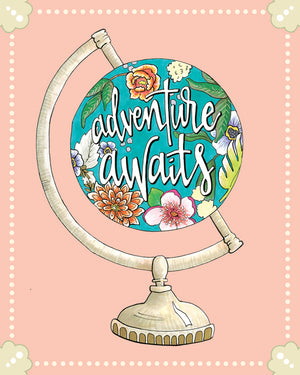"8""x10"" Adventure Awaits Globe Print"