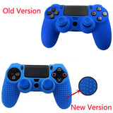 Blue Silicon Grip Case Cover Skin for PS4 Controller