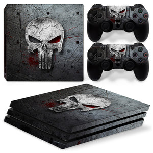 Punisher Style Skull Style PS4 Pro Console with 2 Controllers Stickers