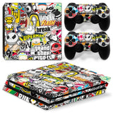 Bombing Vinyl Sticker for Sony Playstation 4 Pro Console + 2 Controller Skin Sticker