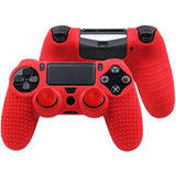 Red Silicon Anti Slip Grip Case Cover Skin for PS4 Controller