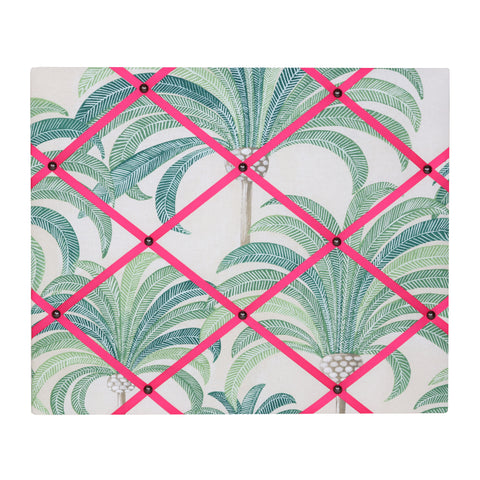 Palm Print / Bright Pink Ribbon Memo Board
