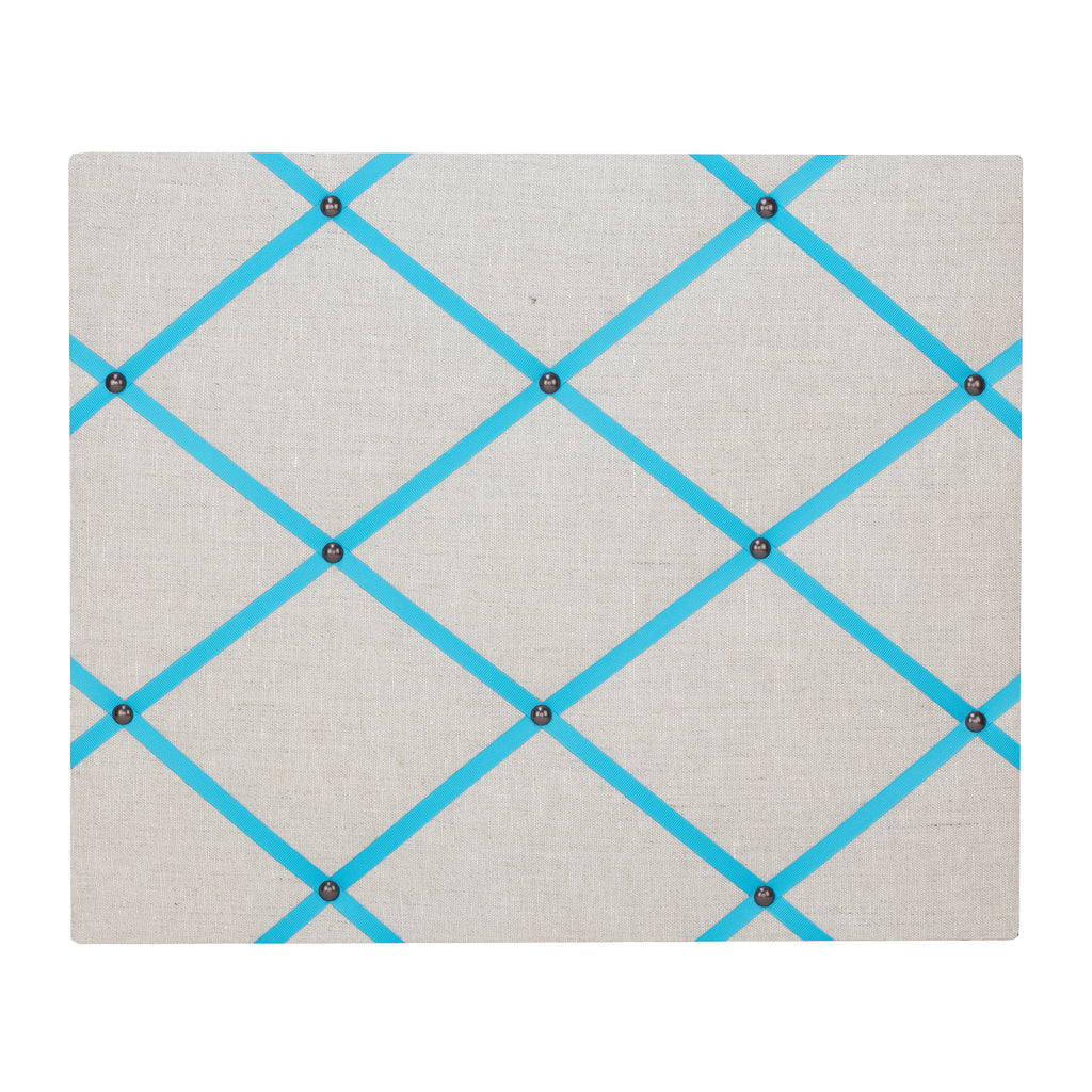 Natural Linen / Turquoise Ribbon Memo Board