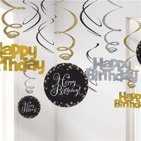 Decken Girlande - Happy Birthday - 9 -teilig -Sparkling Celebration