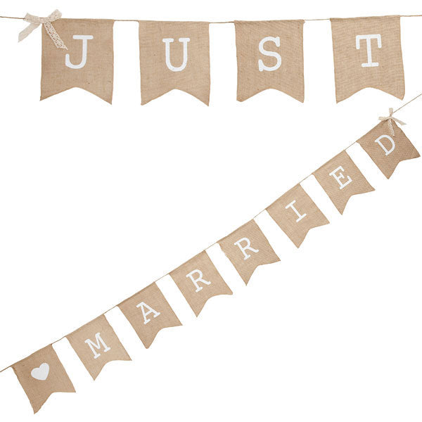 Girlande -Just Married- Vintage Hanfstoff