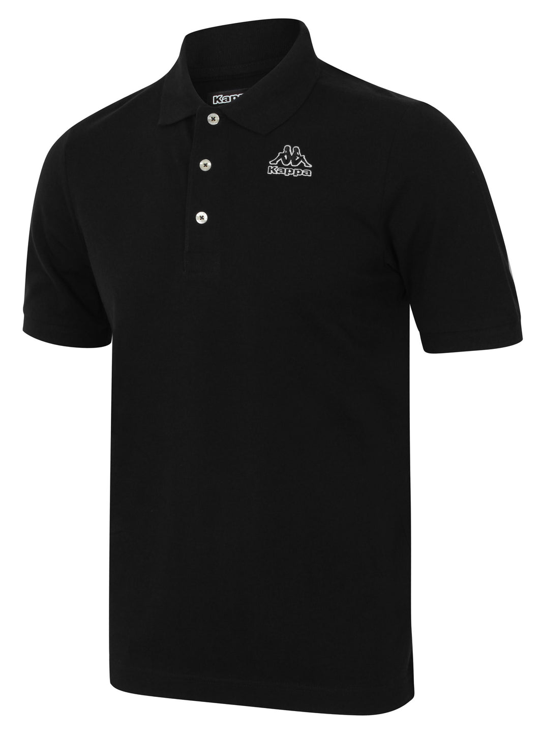 Kappa Mens Omini Black Pure Pique Cotton Sports Polo Shirt