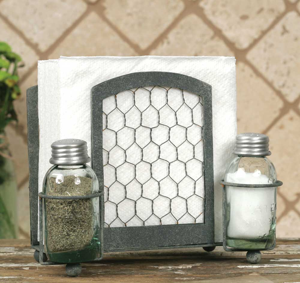 Vintage Inspired Salt Pepper And Napkin Caddy