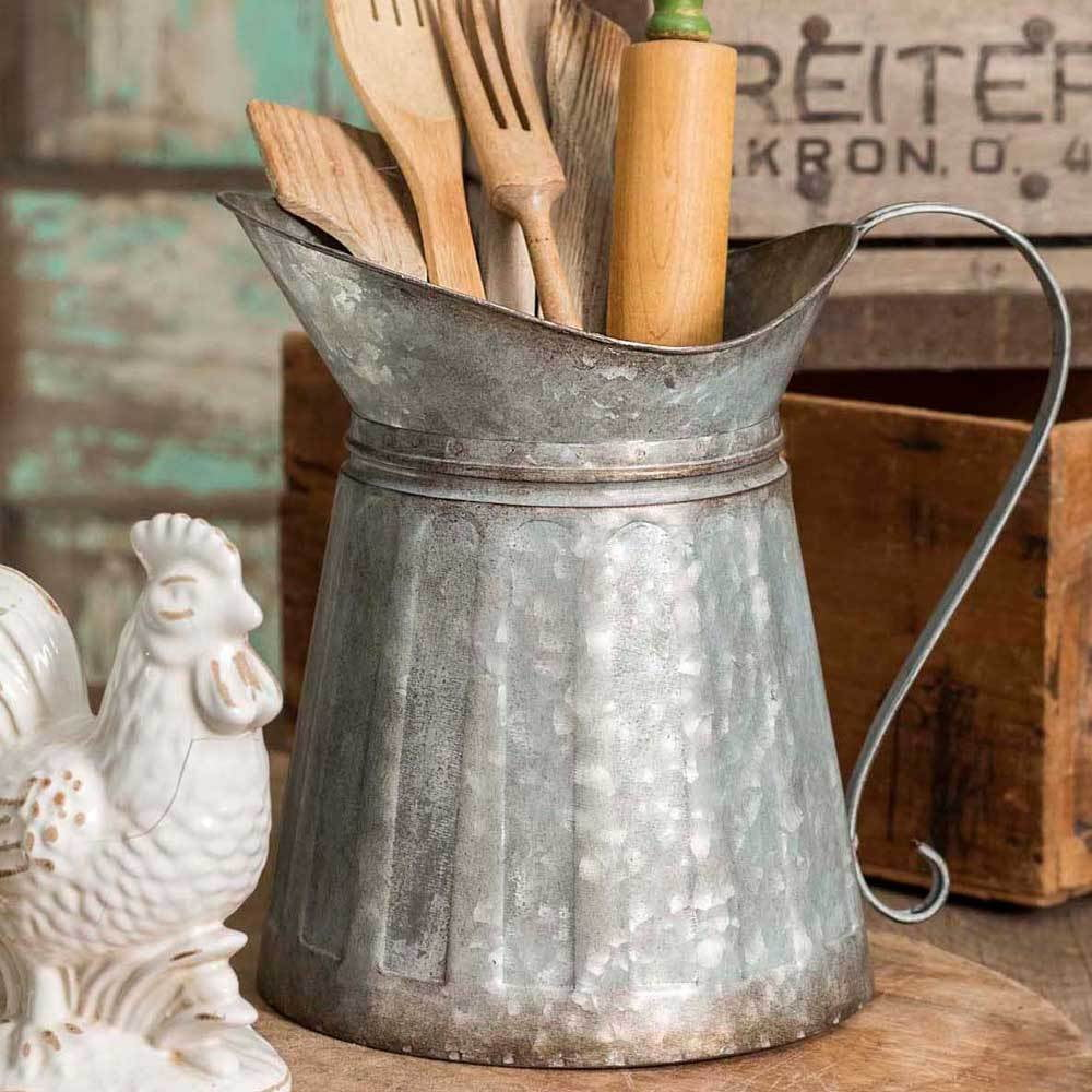 Large Galvanized Milk Pitcher