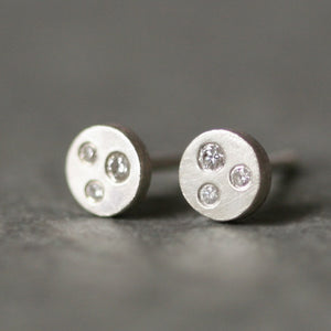 Three Diamond Stud Earrings in Sterling Silver