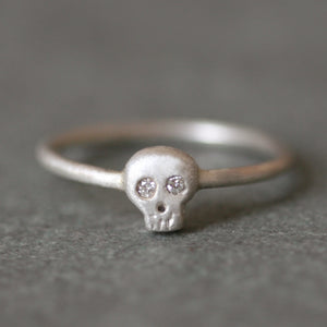Baby Skull Ring in Sterling Silver with Diamonds
