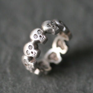 Baby Skull Band Ring in Sterling Silver with Diamonds